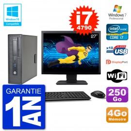 """PC HP EliteDesk 800 G1 SFF Ecran 27"""" i7-4790 4Go 250Go Graveur DVD Wifi W7"""