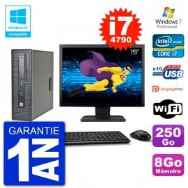 """PC HP EliteDesk 800 G1 SFF Ecran 19"""" i7-4790 8Go 250Go Graveur DVD Wifi W7"""