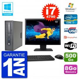"""PC HP EliteDesk 800 G1 SFF Ecran 19"""" i7-4790 8Go 500Go Graveur DVD Wifi W7"""