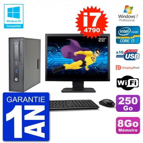 """PC HP EliteDesk 800 G1 SFF Ecran 22"""" i7-4790 8Go 250Go Graveur DVD Wifi W7"""