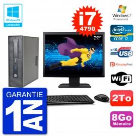 """PC HP EliteDesk 800 G1 SFF Ecran 22"""" i7-4790 8Go Disque 2To Graveur DVD Wifi W7"""
