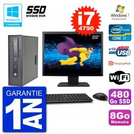 "PC HP EliteDesk 800 G1 SFF Ecran 22"" i7-4790 8Go SSD 480Go Graveur DVD Wifi W7"