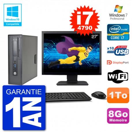 """PC HP EliteDesk 800 G1 SFF Ecran 27"""" i7-4790 8Go Disque 1To Graveur DVD Wifi W7"""