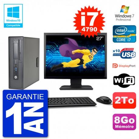 """PC HP EliteDesk 800 G1 SFF Ecran 27"""" i7-4790 8Go Disque 2To Graveur DVD Wifi W7"""