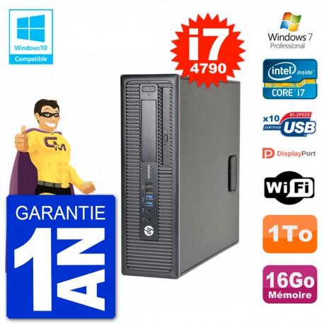 PC HP EliteDesk 800 G1 SFF i7-4790 RAM 16Go Disque 1To Graveur DVD Wifi W7