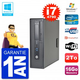 PC HP EliteDesk 800 G1 SFF i7-4790 RAM 16Go Disque 2To Graveur DVD Wifi W7