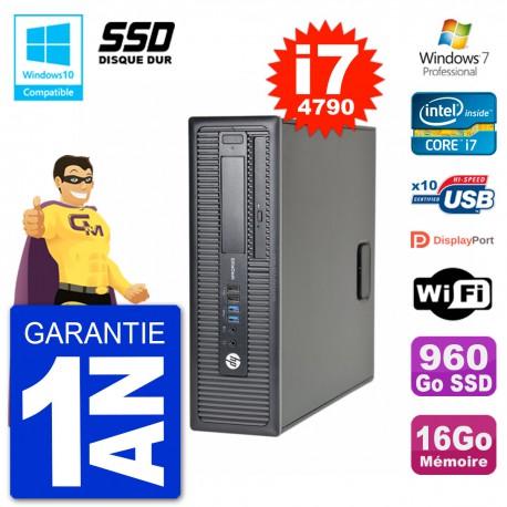 PC HP EliteDesk 800 G1 SFF i7-4790 RAM 16Go SSD 960Go Graveur DVD Wifi W7