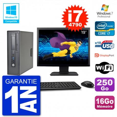 """PC HP EliteDesk 800 G1 SFF Ecran 19"""" i7-4790 16Go 250Go Graveur DVD Wifi W7"""