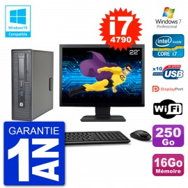 """PC HP EliteDesk 800 G1 SFF Ecran 22"""" i7-4790 16Go 250Go Graveur DVD Wifi W7"""