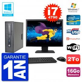 """PC HP EliteDesk 800 G1 SFF Ecran 22"""" i7-4790 16Go Disque 2To Graveur DVD Wifi W7"""