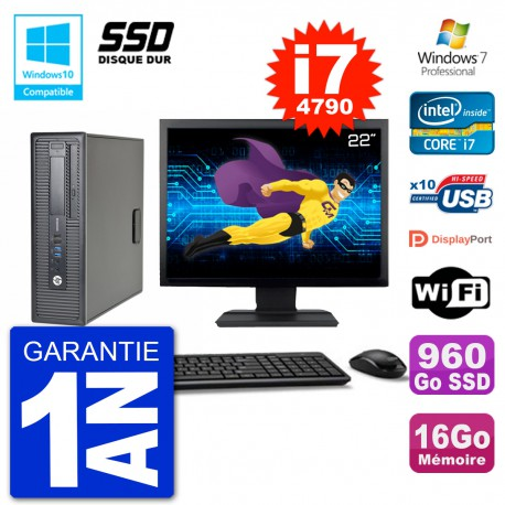 "PC HP EliteDesk 800 G1 SFF Ecran 22"" i7-4790 16Go SSD 960Go Graveur DVD Wifi W7"