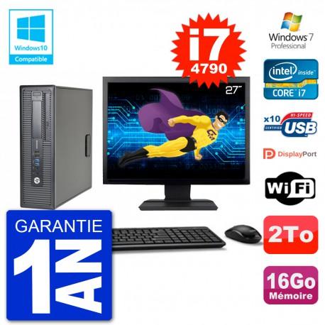 """PC HP EliteDesk 800 G1 SFF Ecran 27"""" i7-4790 16Go Disque 2To Graveur DVD Wifi W7"""