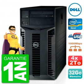 Serveur DELL PowerEdge T410 Bi-Xeon Quad Core E5520 32Go 2x 2To Alimentation Redondante