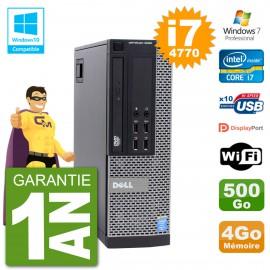 PC Dell 9020 SFF Intel i7-4770 RAM 4Go Disque 500Go Graveur DVD Wifi W7