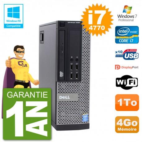PC Dell 9020 SFF Intel i7-4770 RAM 4Go Disque 1To Graveur DVD Wifi W7