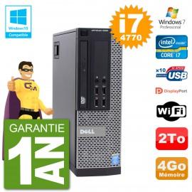 PC Dell 9020 SFF Intel i7-4770 RAM 4Go Disque 2To Graveur DVD Wifi W7