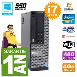 PC Dell 9020 SFF Intel i7-4770 RAM 4Go SSD 480Go Graveur DVD Wifi W7