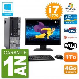 """PC Dell 9020 SFF Ecran 19"""" Intel i7-4770 RAM 4Go Disque 1To Graveur DVD Wifi W7"""