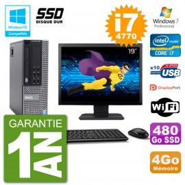 """PC Dell 9020 SFF Ecran 19"""" Intel i7-4770 RAM 4Go SSD 480Go Graveur DVD Wifi W7"""
