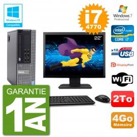 """PC Dell 9020 SFF Ecran 22"""" Intel i7-4770 RAM 4Go Disque 2To Graveur DVD Wifi W7"""