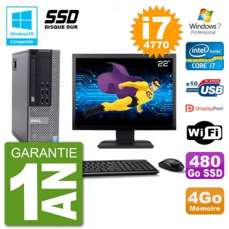 """PC Dell 9020 SFF Ecran 22"""" Intel i7-4770 RAM 4Go SSD 480Go Graveur DVD Wifi W7"""