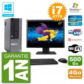 """PC Dell 9020 SFF Ecran 27"""" Intel i7-4770 RAM 4Go Disque 500Go Graveur DVD Wifi W7"""