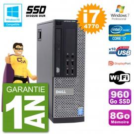 PC Dell 9020 SFF Intel i7-4770 RAM 8Go SSD 960Go Graveur DVD Wifi W7
