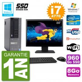 """PC Dell 9020 SFF Ecran 22"""" Intel i7-4770 RAM 8Go SSD 960Go Graveur DVD Wifi W7"""