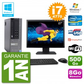 """PC Dell 9020 SFF Ecran 27"""" Intel i7-4770 RAM 8Go Disque 500Go Graveur DVD Wifi W7"""