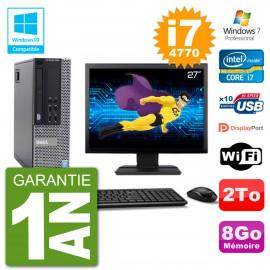 """PC Dell 9020 SFF Ecran 27"""" Intel i7-4770 RAM 8Go Disque 2To Graveur DVD Wifi W7"""