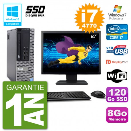 """PC Dell 9020 SFF Ecran 27"""" Intel i7-4770 RAM 8Go SSD 120Go Graveur DVD Wifi W7"""