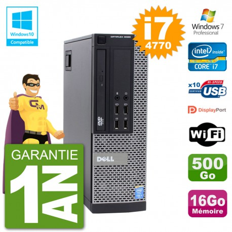 PC Dell 9020 SFF Intel i7-4770 RAM 16Go Disque 500Go Graveur DVD Wifi W7
