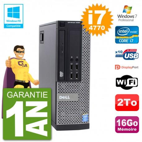 PC Dell 9020 SFF Intel i7-4770 RAM 16Go Disque 2To Graveur DVD Wifi W7