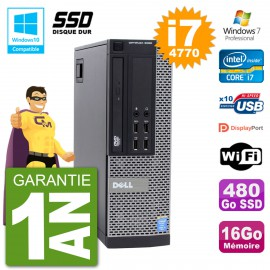 PC Dell 9020 SFF Intel i7-4770 RAM 16Go SSD 480Go Graveur DVD Wifi W7