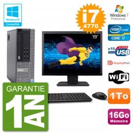 """PC Dell 9020 SFF Ecran 19"""" Intel i7-4770 RAM 16Go Disque 1To Graveur DVD Wifi W7"""