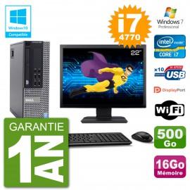 """PC Dell 9020 SFF Ecran 22"""" Intel i7-4770 RAM 16Go Disque 500Go Graveur DVD Wifi W7"""