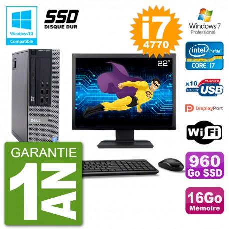 """PC Dell 9020 SFF Ecran 22"""" Intel i7-4770 RAM 16Go SSD 960Go Graveur DVD Wifi W7"""