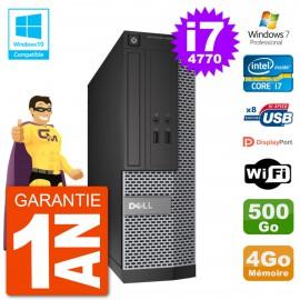 PC Dell 3020 SFF Intel i7-4770 RAM 4Go Disque 500Go Graveur DVD Wifi W7
