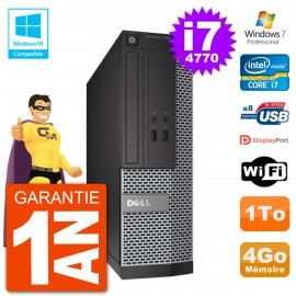 PC Dell 3020 SFF Intel i7-4770 RAM 4Go Disque 1To Graveur DVD Wifi W7