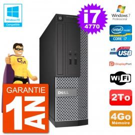 PC Dell 3020 SFF Intel i7-4770 RAM 4Go Disque 2To Graveur DVD Wifi W7