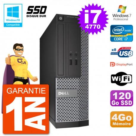 PC Dell 3020 SFF Intel i7-4770 RAM 4Go SSD 120Go Graveur DVD Wifi W7
