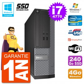 PC Dell 3020 SFF Intel i7-4770 RAM 4Go SSD 240Go Graveur DVD Wifi W7
