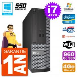 PC Dell 3020 SFF Intel i7-4770 RAM 4Go SSD 960Go Graveur DVD Wifi W7