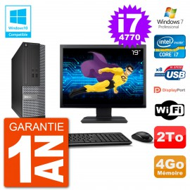 "PC Dell 3020 SFF Ecran 19"" Intel i7-4770 RAM 4Go Disque 2To Graveur DVD Wifi W7"