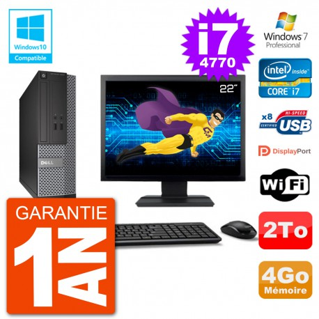 "PC Dell 3020 SFF Ecran 22"" Intel i7-4770 RAM 4Go Disque 2To Graveur DVD Wifi W7"