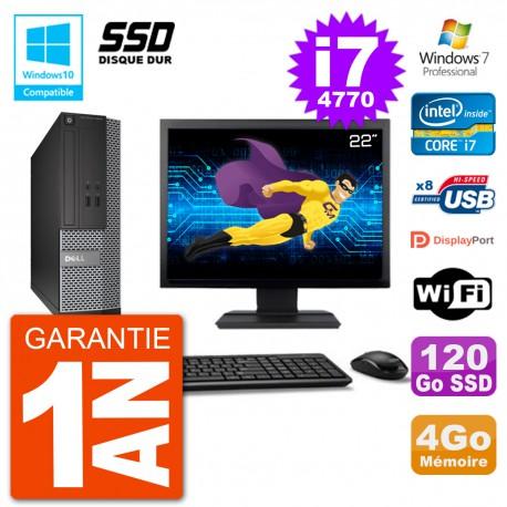 """PC Dell 3020 SFF Ecran 22"""" Intel i7-4770 RAM 4Go SSD 120Go Graveur DVD Wifi W7"""