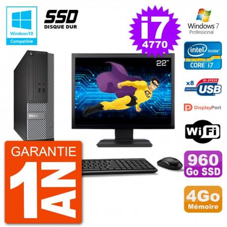 """PC Dell 3020 SFF Ecran 22"""" Intel i7-4770 RAM 4Go SSD 960Go Graveur DVD Wifi W7"""