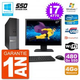 """PC Dell 3020 SFF Ecran 27"""" Intel i7-4770 RAM 4Go SSD 480Go Graveur DVD Wifi W7"""