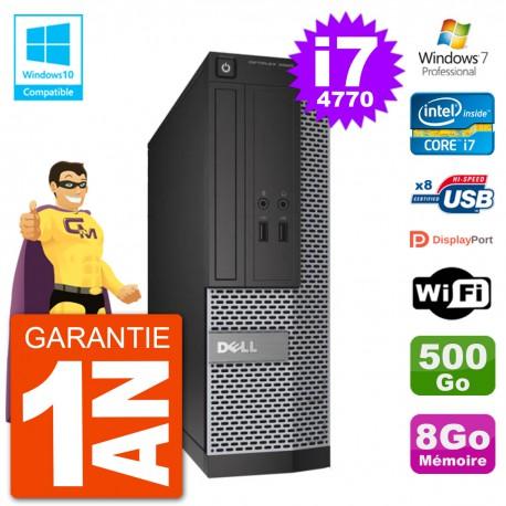 PC Dell 3020 SFF Intel i7-4770 RAM 8Go Disque 500Go Graveur DVD Wifi W7