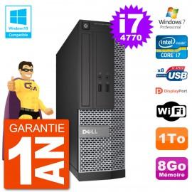 PC Dell 3020 SFF Intel i7-4770 RAM 8Go Disque 1To Graveur DVD Wifi W7